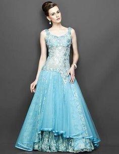 Sky blue bridal gown