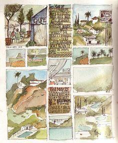 Los Angeles sketchbook - image blocked windows of watercolor sketching and journaling