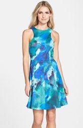 CeCe by Cynthia Steffe 'Maggie' Print Scuba Fit & Flare Dress (Regular & Petite)