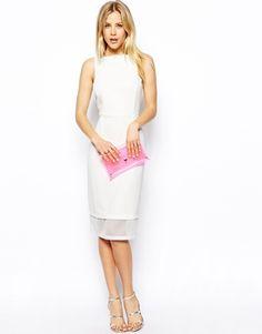 Vestido de tubo con aplicación de malla de ASOS