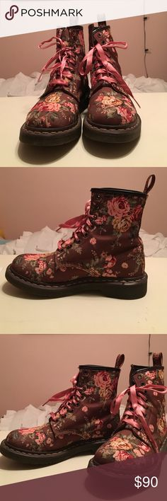 Women's Floral Doc Marten Boots Brown & Floral Doc Marten Boots.                           US Size 7 (UK Size 5).                                               Lightly used, in very good condition.                      I do not have tags or original box.                          Please comment if you have any questions I am willing to negotiate reasonable offers 😊 Doc Martens Shoes Combat & Moto Boots