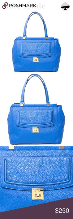 💕SALE💕kate spade Blue Everett Way Thatcher Bag Fabulous 💕kate spade Blue Everett Way Thatcher Pebbled Leather Bag.          Magnetic tab closure across the top, front pocket with flap and turn lock closure,                         Dual leather handles with a drop of approx 8.5 inches, metal protective feet on the bottom. Interior features custom fabric Lining 1 zip pocket and 2 slip pockets  Approx dimensions 14.5 in (L) x 10.5 in (H) x 6.5in (W) Great Bag Perfect for a Gift for that…
