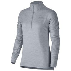Women's Nike Therma Sphere Element Running Pullover Top ($85) ❤ liked on Polyvore featuring activewear, activewear tops, nike pullover, sweater pullover, dri fit pullover, nike sportswear and nike activewear