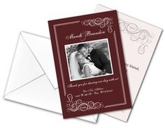 Cole Industries Promotional Products Promosuperstore - Wedding Thank You Card Flat with Printed Envelopes - 3.5x5 - 5204004