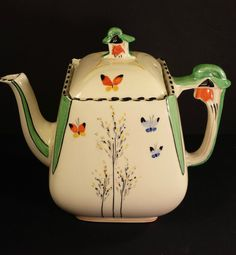 """Art Deco Burleigh Ware Teapot in Zenith Design """"Butterflies & Trees"""" Hd Vintage, Vintage China, Vintage Tea, Butterfly Tree, Butterflies, Cafetiere, Tree Patterns, Teapots And Cups, Coffee Set"""