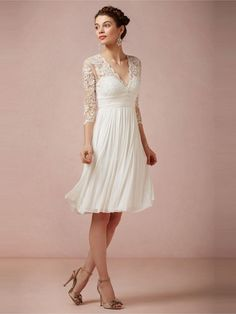 Sheath/Column V-neck Chiffon Knee-length 3/4 Sleeves Wedding Dresses