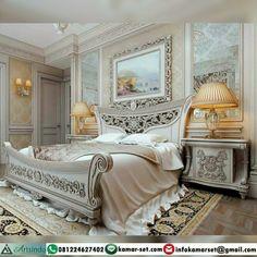 Kamar Set Klasik Mewah Claudia AI-205 Kode : AI-205 Tempat Tidur 180 x 200 cm 2 Nakas Bisa tambah lemari pakaian dan Meja rias dengan model menyesuaikan