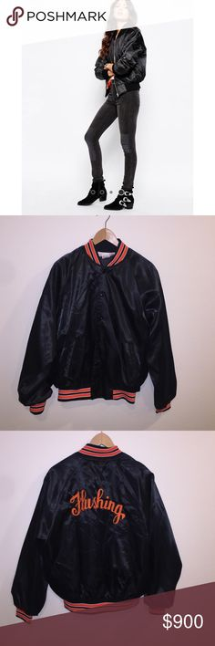 [Vintage] •90's Black Bomber Jacket• Vintage black and orange nylon bomber jacket representing Flushing, New York! Cover photo just used to show how to style bomber jacket. Unisex size L. Vintage Jackets & Coats