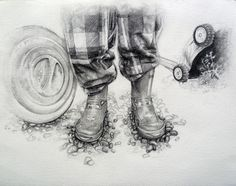 """""""Footloose variation"""" (?) I think it would be a fun project to play a song- have students do crazy dance moves- take photos of their feet dancing.  Then make preliminary sketches & a painting from the photograph."""