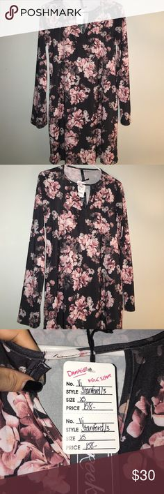 Floral Dress New, never worn, slight damage on the neck ( can easily be sewed), black and pink floral dress, three quarter sleeve Viereck  Dresses Long Sleeve