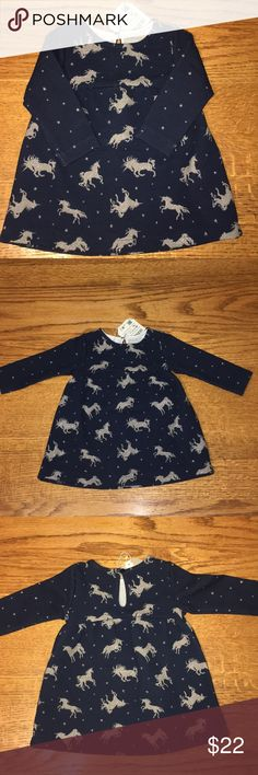 NWTS 🌟 Zara Baby Girl 🌟 Unicorn Top🌟 Size 3/6 M Zara Baby Girl ~ Top ~ Navy Blue accented with silver unicorns ~ NWTS ~ Size 3/6 Months Zara Shirts & Tops Tees - Long Sleeve