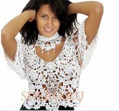 andrea croche: Blusa de croche com gráfico