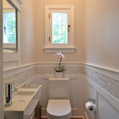 Powder Room wainscoting with glass mosaic above Design Ideas, Pictures, Remodel and Decor