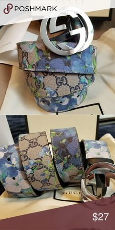 d07c59c5999 😘Authentic Gucci Belt Blue Blooms Monogram Print 😘Authentic Gucci Belt  Blue Flower Blooms Monogram