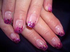 Pink glitz tips Cute Nail Art, Nail Art Diy, Diy Nails, Glitter Nails, Cute Nails, Pretty Nails, Manicure, Pink Glitter, Beautiful Nail Designs