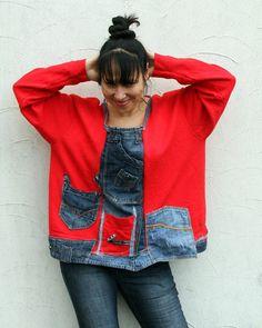 L-XXL crazy denim jeans recycled appliqued blouse por jamfashion Recycled Fashion, Recycled Denim, Recycled Clothing, Jean Rapiécé, Estilo Denim, Clothes Refashion, Denim Outfits, Denim Ideas, Short En Jean
