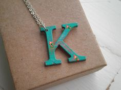 Letter K Wood Initial Charm Necklace - Hand Painted Floral Letter K Pendant - Teal Blue K Personalized Jewelry Gift For Her, Flower Necklace