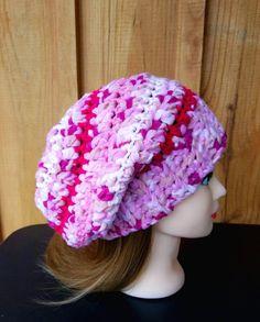 9d4ea8edd36 Crochet Pink Slouch Hat - Adult (22