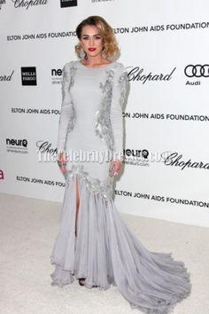 Miley Cyrus Silver Mermaid Prom Dress 2012 Elton John Oscar Party