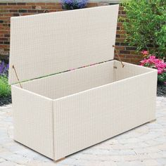 Royal Teak All-Weather Wicker 58 in. Storage Box - Looking for an attractive solution to that cluttered patio? Let the Royal Teak All-Weather Wicker 58 in. Storage Box reclaim your territory by providing...