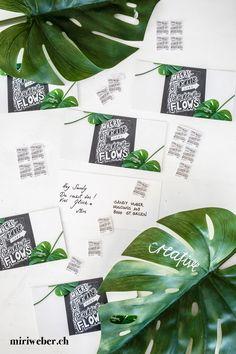 SCHWEIZERISCHE POST WERTVOLLE BOTSCHAFTEN - miriweber.ch - Kreativ - DIY - Food - Familien - Travel Blog aus der Schweiz Diy Blog, Plant Leaves, Poster, Instagram, Plants, Chalkboard Pictures, Creative Cards, Families, Postage Stamps