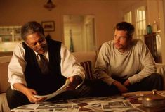 """Morgan Freeman as Detective Lt. William Somerset and Brad Pitt as Detective David Mills in """"Seven"""", 1995 Film Seven, Seven 1995, Action Movies To Watch, Movies To Watch List, Movie List, David Fincher, American Psycho, Kevin Spacey, James Cameron"""