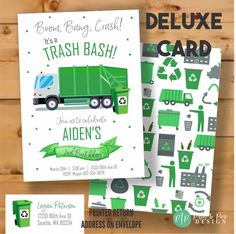 This Garbage Truck Invitation is perfect for your son or daughters trash bash birthday party. The modern green and grey design, and cute garbage truck clipart set the perfect theme for a garbage truck birthday. Monkey Birthday Parties, Birthday Themes For Boys, Kids Party Themes, 3rd Birthday, Summer Birthday, Theme Parties, Birthday Ideas, Party Ideas, Garbage Truck Party