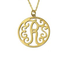 Custom Monogram Necklace In 18K Gold Plated Silver 2014
