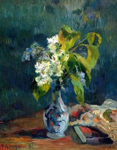 Paul Gauguin, Lilacs, 1885.   I feel that this paint it kind of plain compared to the others because of no pointillism. i also feel that the green in the leaves really pulls one into it. there are distinctive brush stroke in the vase and item on the table.