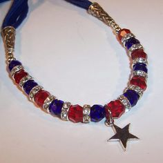 Sparkling Red & Blue Crystals with a Sterling Star Pendant Necklace from ruthsredemptions on Ruby Lane