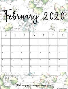 Free printable monthly calendar 2020 in beautiful floral prints! Printable Calendar 2020, Print Calendar, Calendar Pages, Printable Planner, Free Printables, Blank Calendar, Printable Templates, Planner Stickers, Free Planner