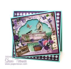 La Provence 3D decoupage anniversary card, with Studio Light La Provence Diorama card pack elements, by Paperesse.