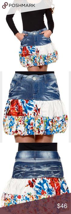 RareDesigual Boutique Designer Denim Skirt Rare unique piece! Desigual  Katekub Rock denim jean skirt. fa648c761df