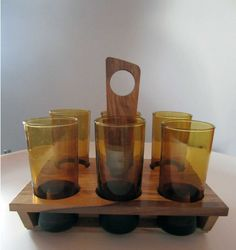 Yellow GLASSES & OLIVE WOOD rackvintage 1970s by LeFrenchBazaar, €24.95