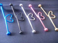 Industrial Ear Barbells Ear Scaffold Bar Heart Shape New – Piercings - GoHairstyles Industrial Piercing Jewelry, Industrial Earrings, Industrial Piercing Barbells, Industrial Barbell, Body Piercing, Ear Piercings, Peircings, Cheap Michael Kors Bags, Ear Jewelry