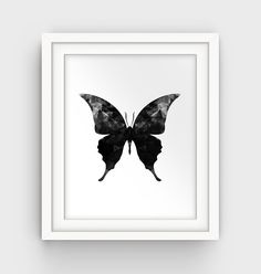 Butterfly Art Butterfly Print Black and White by GalliniDesign