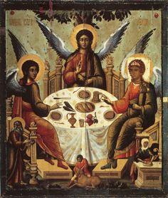 The Holy Trinity- handmade Greek orthodox Russian byzantine icon Byzantine Icons, Byzantine Art, Religious Icons, Religious Art, Jesus Christus, Saint Esprit, Russian Icons, Old Testament, Orthodox Icons
