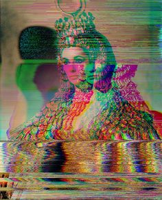 "Glitch art/altered found image: Elizabeth Taylor as Cleopatra in ""Cleopatra""… Glitch Art, Claude Monet, Cleopatra, Vaporwave, Andy Warhol, Vincent Van Gogh, Pop Art, Pablo Picasso, Ghost In The Machine"