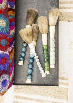 Gorgeous home décor brushes with wooden, beaded handle