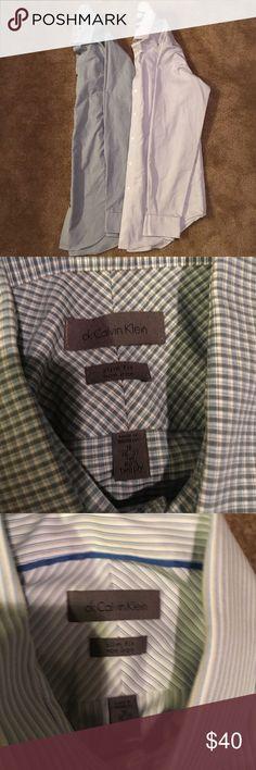 Calvin Klein Dress Shirts - 16 Neck/36-37 sleeves Lot of 2 Calvin Klein Dress Shirts - 16 Neck/36-37 sleeve.  Slim fit, non-iron.  Only worn a few times. Calvin Klein Shirts Dress Shirts