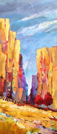 "Shelli Walters - ""Conversations With Rocks"", 16x40, mixed media, acrylic paint on gallery wrapped canvas"