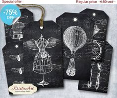 75% OFF SALE BW World Tags  Digital Collage by KristieArtDesign