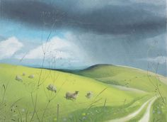 NICHOLAS HELY HUTCHINSON  Sheep by the Ox Drove Oil on board 10 x 13 ins