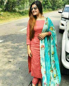Punjabi Bride, Punjabi Suits, Churidar Suits, Salwar Kameez, Kurti, Patiala, Indian Tunic Tops, Salwar Designs, Cotton Suit