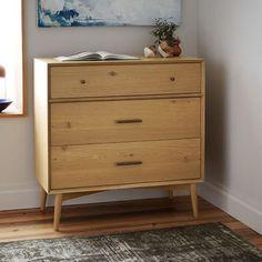 "WEST ELM - Mid-Century 3-Drawer Dresser - Natural Oak - 36""W x 18""D x 36""H - $699"