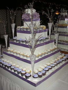 """Purple Bling"" Cupcake Tower. I want this but in coral, and peach"