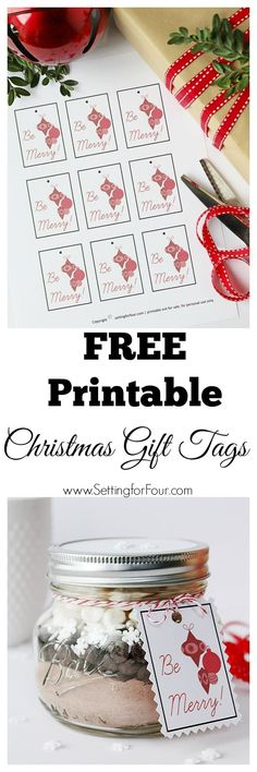 FREE Printable! DIY Christmas Gift Tags! Print, cut out add twine and attach to your gifts! www.settingforfour.com