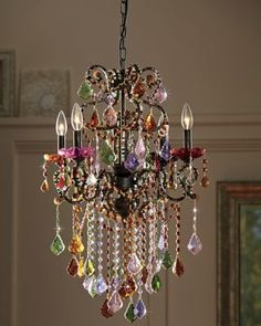 Highlight the room with stunning color and sparkle! Exquisite in every detail, this chandelier shimmers with strands of round beads and faceted crystal gems. Ruffled cups accent each light, on 4 curve Decor, Color Crystal, Bohemian Decor, Chandelier Lighting, Lamp Decor, Lights, Beautiful Lighting, Chandelier, Diy Chandelier