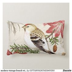 Shop modern vintage french winter bird lumbar pillow created by GIFTSBYHEATHERMYERS. Personalize it with photos & text or purchase as is! Vintage Winter, French Vintage, Lumbar Pillow, Throw Pillows, French Pillows, Shabby Chic Pillows, Woodland Christmas, Designer Pillow, Pillow Design
