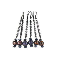 Glitter Swirl Bead Dangle Earrings in by TaraElisabethDesigns